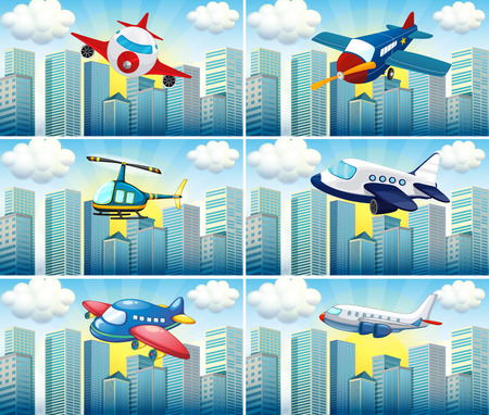 the hovercraft: Helicopter and airplanes flying in the city illustration Illustration