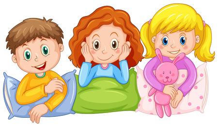 slumber party: Children happy at slumber party illustration Illustration