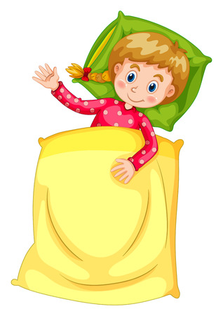 blanket: Cute girl in bed illustration