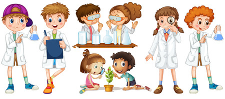 experiments: Boys and girls in science gown illustration Illustration