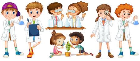 experimento: Los niños y niñas en la ilustración del vestido de la ciencia