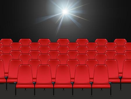 cadeira: Cena com cadeiras vermelhas na ilustra Ilustração