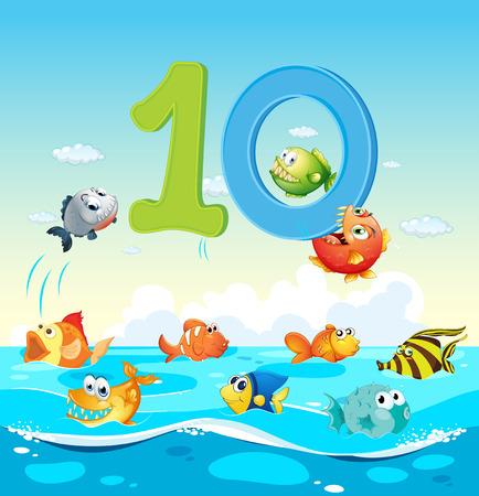 number ten: Number ten with 10 fish in the ocean illustration