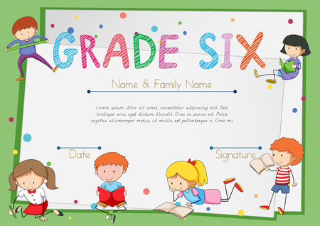elementary school: Certificate template for students grade six illustration