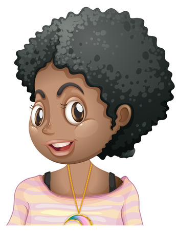 african american: African American girl smiling illustration