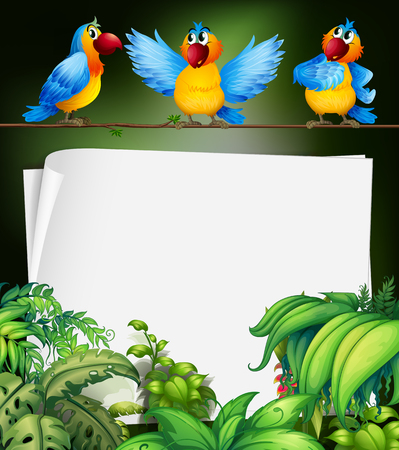 tropical tree: Paper design with three parrots on branch illustration