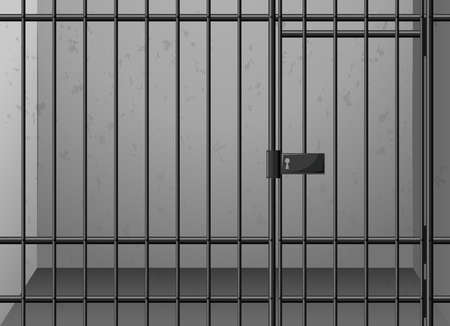 Scene with cage and metal bars illustration 일러스트