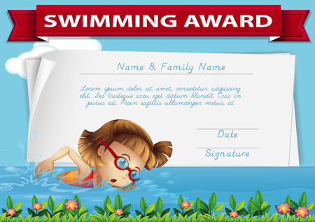 Swimming award certificate template illustration