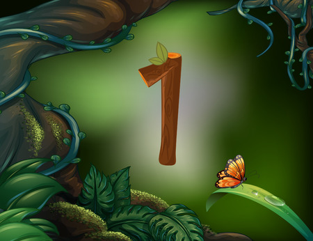 image background: Number one with 1 butterfly in the garden illustration