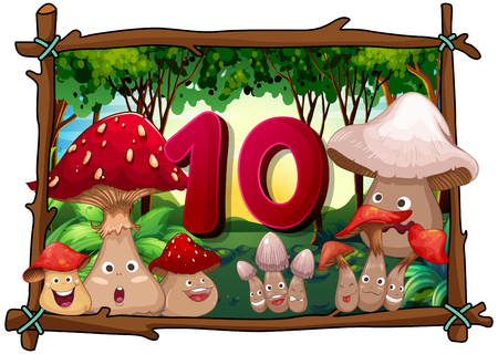 number ten: Number ten with 10 mushrooms with faces illustration Illustration