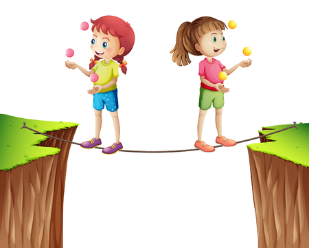 girls feet: Two girls juggling balls on the rope illustration