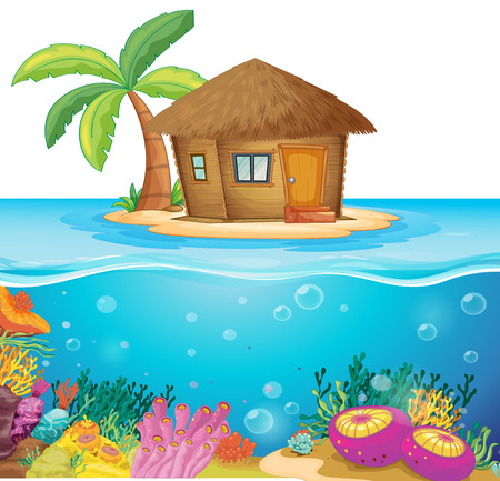 hut: Hut on the island in the middle of the ocean illustration