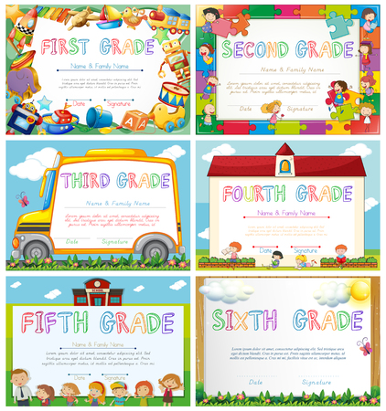 primary school: Diploma templates for primary school illustration