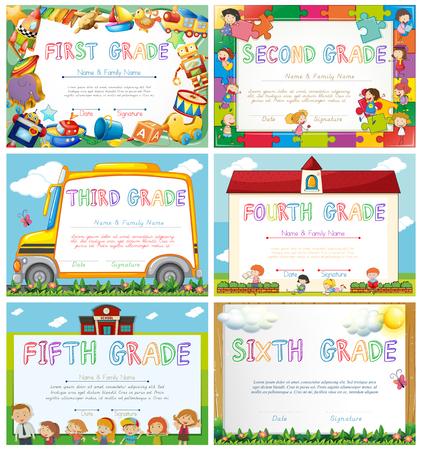 modelli Diploma di illustrazione scuola primaria Vettoriali