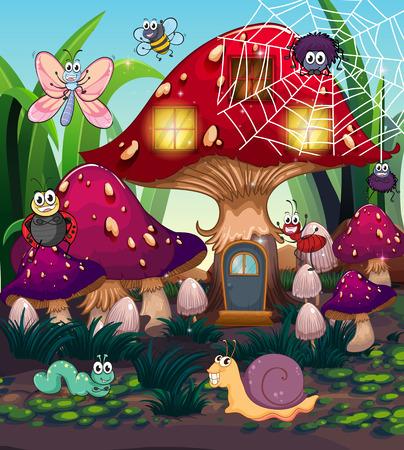 Insecten en champignons huis in de tuin illustratie