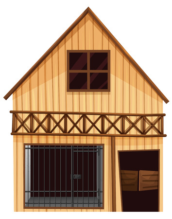 prison house: Wooden hut with prison room downstairs illustration