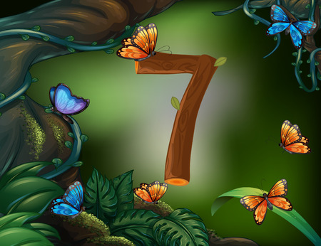 image background: Number seven with 7 butterflies in the garden illustration