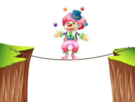 cliffs: Clown juggling balls on the rope illustration Illustration