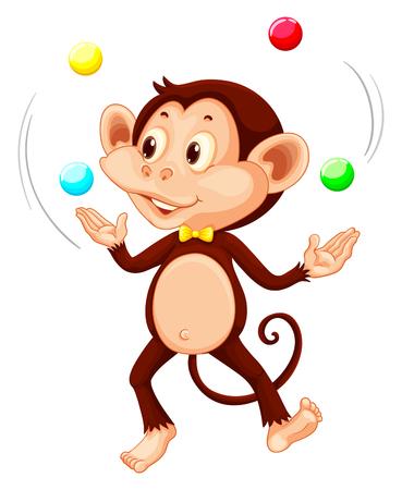 Happy monkey juggling balls illustration Vector Illustration