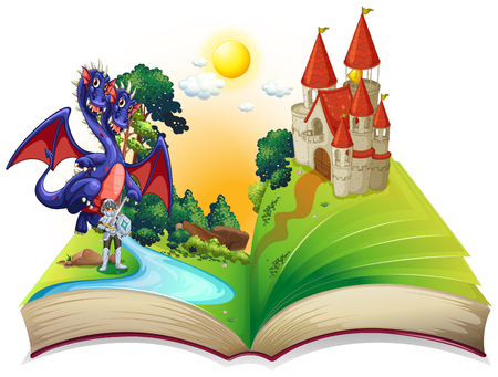 Book of fairytales with knight and dragon illustration Vectores
