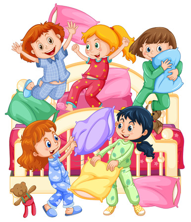Girls playing pillow fight at slumber party illustration Stock Illustratie