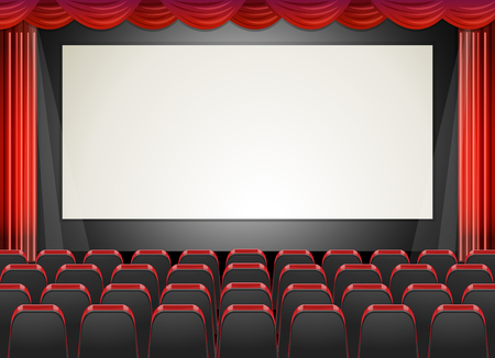 cinema screen: Movie cinema with seats and screen illustration