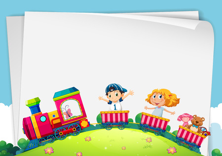 Paper design with children on the train illustration