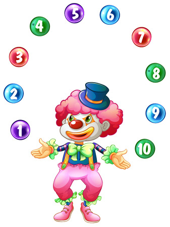 numbers clipart: Jester juggling balls with numbers illustration
