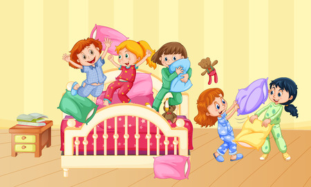 slumber: Girls playing pillow fight at slumber party illustration Illustration