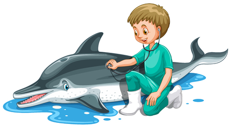 vet: Vet checking up dolphin illustration