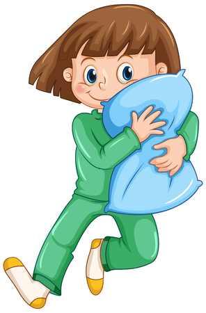 slumber: Girl hugging pillow at slumber party illustration Illustration