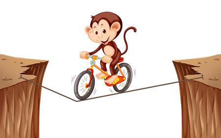cliffs: Monkey riding bike on the rope illustration