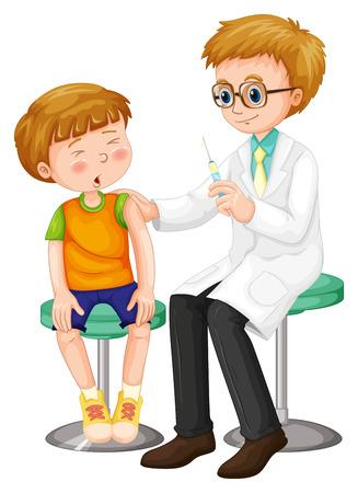 дети: Доктор дает выстрел к иллюстрации мальчика Иллюстрация