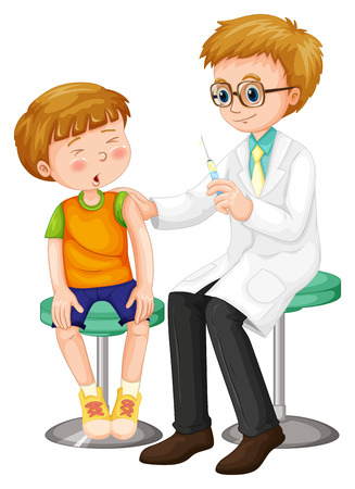 Doctor giving shot to the boy illustration Ilustrace