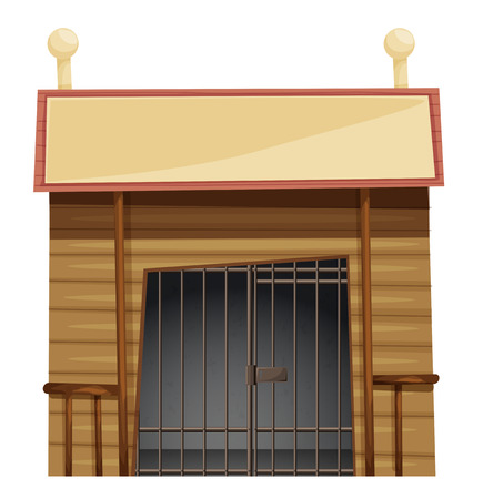 detainee: Prison room with sign on top illustration