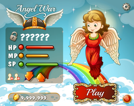 fantacy: Game template with angel in the sky illustration