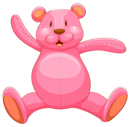 pink teddy bear: Pink teddy bear with happy face illustration Illustration