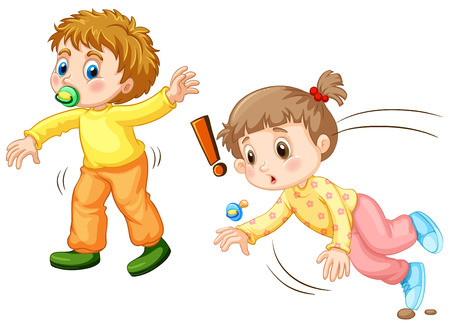 Toddler falling down on the ground illustration Illustration