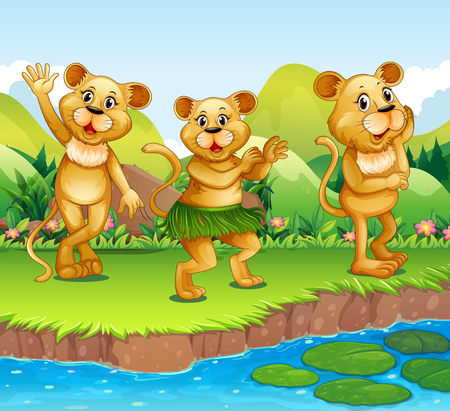 lion clipart: Lions dancing by the river illustration