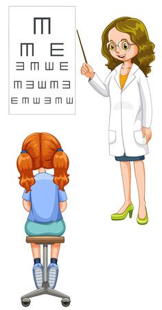 doctor exam: Girl having her eyes checked illustration