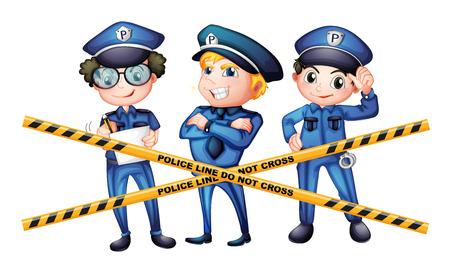 crime scene: Three policemen at the crime scene illustration