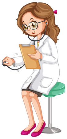 female doctor: Female doctor examining patient with stethoscope illustration