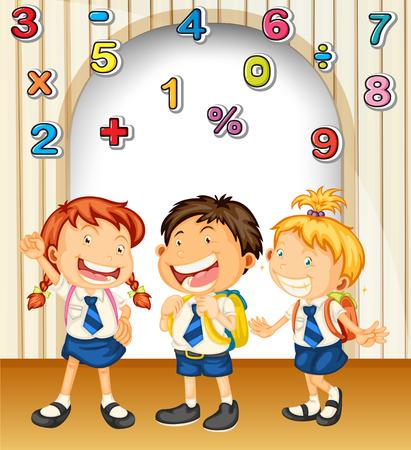 subtraction: Boy and girls in school uniform illustration