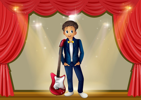 guitar background: Man with guitar on stage illustration Illustration