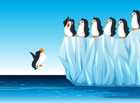 climate change: Penguin jumping in the ocean illustration