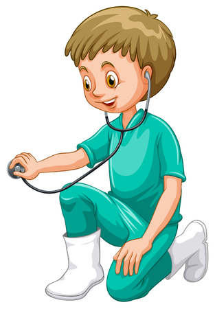 grownup: Vet in green uniform with stethoscope illustration