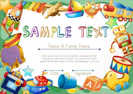 Diploma sjabloon met speelgoed op rand illustratie Stock Illustratie