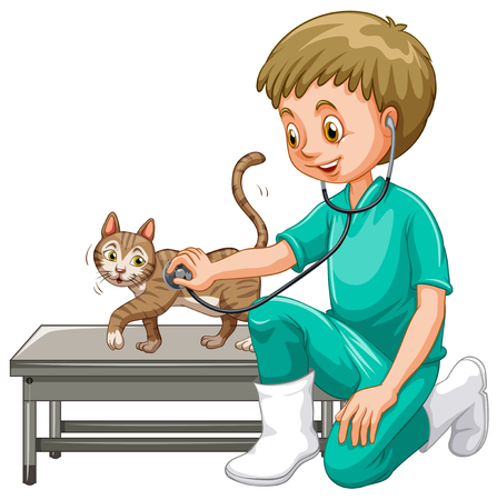 Vet examining little cat illustration Illustration