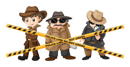 clues: Three detectives looking for clues illustration Illustration