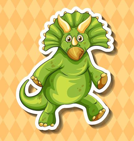 Green dinosaur on orange background illustration Illustration